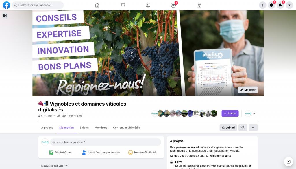Capture d'écran du nouveau groupe Facebook dédié aux viticulteurs connectés